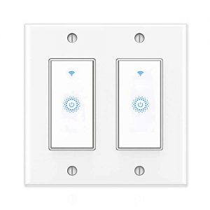 Smart Light Switch&Alexa Smart Double Switch&WIFI Light Switch With Timer and Remote Control,Works with Alexa, Google home and IFTTT, No Hub required.(2gang)