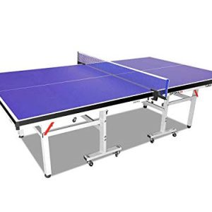 Global Sporting Equipments Inside Table Tennis Table Indoor Ping Pong Table with Net Set Bats and Balls Playback Mode Foldable Easy Moving Compact Storage