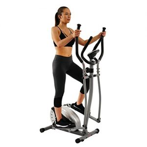 Magnetic Elliptical Machine Trainer by Sunny Health & Fitness with LCD Monitor, 220 LB Max Weight, 8 Level Resistance and Pulse Monitor – SF-E905