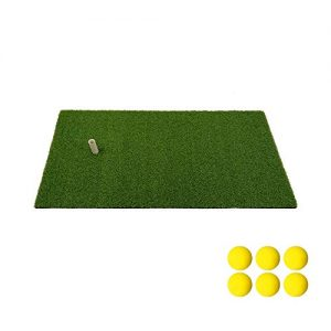 Golf Mat Residential Practice Hitting Mat 12''x24'' Golf Swing Mat with Rubber Tee Realistic Synthetic Turf Grass Golf Pad Portable Training Equipment for Outdoor Indoor Sports(Free 6 Balls and 1 Tee)