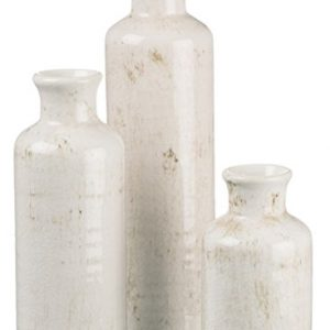 Sullivans Small White Vase Set (Ceramic), Rustic Home Decor, Distressed White, Set of 3 Vases (CM2333).