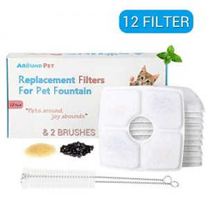 Around Pet Filter Replacement for Cat Fountain 12 Packs with 2 Cleaning Brushes