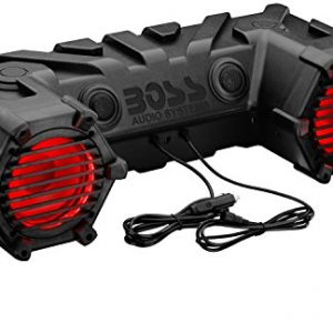 BOSS Audio Systems ATV30BRGB All-Terrain Sound System – 6.5 Inch Weatherproof ATV Speakers Tweeters, Built-in Amplifier, Bluetooth Capable, Multi-Color Illumination, Ideal for ATV UTV 12 Volt Vehicles