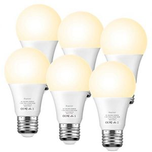 Aoycocr Wifi Smart Light Bulb Compatible with Alexa Goolge Home IFTTT, Warm White 2700K A19 Smart Bulb, 7.5 (75W Equivalent) 750 Lumens, E26 Base, Wi-Fi, Dimmable, No Hub Required, UL ETL List, 6 Pack