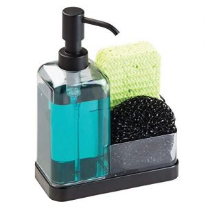 mDesign Soap Dispenser Pump with Sponge and Scrubber Organizer for Kitchen Countertops – Graphite/Matte Black