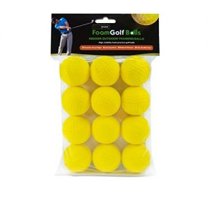 Shaun Webb's Golf Foam Balls – Swing Training Aids for Kids and Adults, Indoor Putting Green, Backyard Outdoor Practice Equipment – Soft, Yellow Colored, Dimpled, Limited 20-Yard Flight – 12 Per Pack