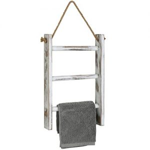 MyGift 3-Tier Whitewashed Wood Wall-Hanging Towel Storage Ladder with Rope