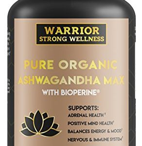 Premium Pure Organic Ashwagandha Max with Bioperine 120 Capsules Grief Support, Anxiety, Stress Relief, Thyroid, Adrenal Fatigue Management, Cortisol Hormone Supplement; by Warrior Strong…