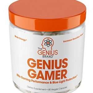 Genius Gamer – Elite Gaming Nootropic | Focus & Brain Booster Supplement – Boost Mental Clarity, Reaction Time, Energy & Concentration – Eye & Vision Vitamins w/Lutein, Support Eye Strain – 80 Pills