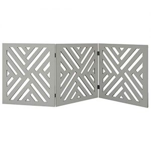 Etna 3-Panel Lattice Design Wooden Pet Gate – Freestanding Gray Tri Fold Dog Fence for Doorways, Stairs – Indoor/Outdoor Decorative Pet Barrier – 46.2″ Wide x 19″ Tall for Small to Medium Dogs