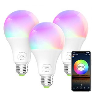 BERENNIS Smart Light Bulb, A19 E26 RGBCW WiFi Dimmable Multicolor LED Lights, Works with Amazon Alexa, Google Home and IFTTT (No Hub Required) 7W (60w Equivalent) 3 Pack