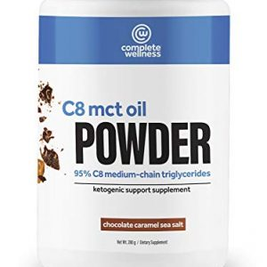 Complete Wellness C8 MCT Oil Powder 30 Servings – Chocolate Caramel Sea Salt – High Quality MCT Oil, Perfect for Keto