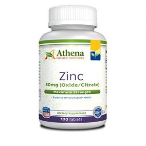 Athena – Zinc Supplement Tablets 50mg – Oxide/Citrate – 100 Coated Tablets