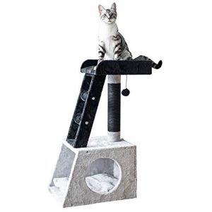"""Catry 31"""" Grey and White Ladder Cat Tree with Paper Rope Covered Scratch Post Fleece Covered Cat Tower"""