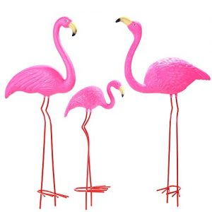 Ohuhu Family Flamingo Yard Ornaments, Set of 3 (32″, 31″, 19″) Bright Pink Flamingos Family with Metal Feet Stakes for Garden Decoration