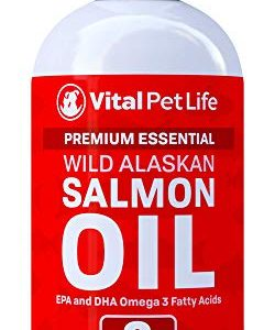 Salmon Oil for Dogs, Cats, and Horses, Fish Oil Omega 3 Food Supplement for Pets, Wild Alaskan 100% All Natural, Helps Dry Skin, Allergies, and Joints, Promotes Healthy Coat, Helps Inflammation, 8 oz