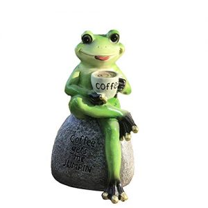 Creative Green Frog Sitting on Stone Statue Drinking Coffee Indoor Outdoor Garden Statue Decoration Collectible Frog Figurine Statue Model Sculpture (6″ Frog On Stone)