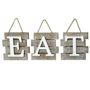 """Barnyard Designs Eat Sign Wall Decor for Kitchen and Home, Distressed Natural, Rustic Farmhouse Country Decorative Wall Art 24″ x 8"""""""