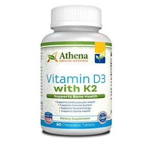 Athena – Vitamin D3 2000IU With K2 (MK7) – 90 Chewable Tablets – Supports Immune System – Muscle Energy – Strong Bones – Healthy Dental – Non GMO