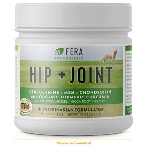 FERA PET ORGANICS Glucosamine Chondroitin Chews for Dogs – All Natural Hip and Joint Supplement with MSM, Omega-3, Vitamin C, Hyaluronic Acid, Organic Turmeric – Advanced Max-Strength Vet Formulated