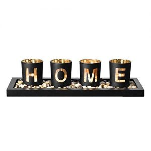 Candle Holder Set, Includes Ornamental Earth Stones Black Wood Tray and 4 Glass Cups Featuring 'HOME' Wording, Decorative Holiday Gift for your Loved One.