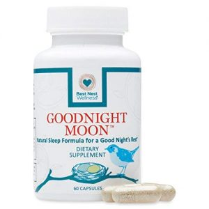 Goodnight Moon Natural Sleep Aid, 60 Non-Habit Forming Capsules, Herbal Sleep Aid, with Melatonin, Chamomile, Valerian, Magnesium, Relaxation & Sleeping Supplement Pills, Best Nest Wellness