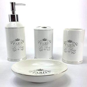 WPM 4 Piece Bathroom Accessory Set. White Classic French Provincial Bath Gift Set includes liquid soap/lotion dispenser, toothbrush holder, tumbler, and soap dish.