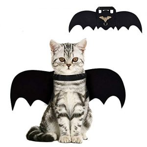 CRANACH Cat Bat Costume,Halloween Cat Bat Wings for Pets,Cat Halloween Collar Pet Apparel for Small Dogs and Cats,Comfort Material Pet Costume for Halloween