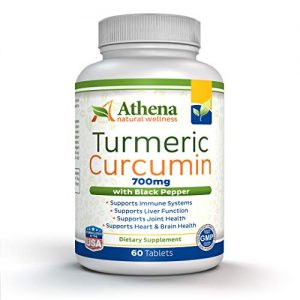 Athena – Turmeric Curcumin with Black Pepper (bioperine) Supplement – Organic Ingredients – Non GMO – Suitable for Vegetarians – 60 Tablets