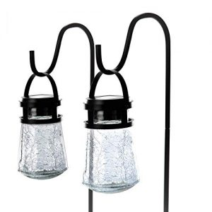 Home Zone Security Solar Pathway Lights – Outdoor 3000K Solar Crackle Glass Garden Lights with No Wiring Required (2-Pack)