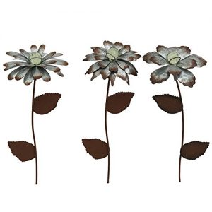 CEDAR HOME Galvanized Floral Garden Stake Outdoor Glow in Dark Plant Pick Water Proof Metal Stick Art Ornament Decor for Lawn Yard Patio, 4″W x 1.5″D x 13.8″H, 3 Set