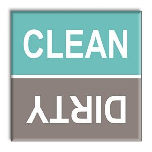 Guajolote Prints Clean Dirty Dishwasher Magnet Sign Indicator – Turquoise and Gray Beach Colors Style