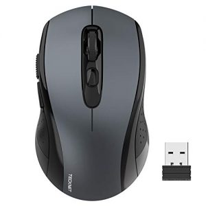 Wireless Mouse TeckNet 2.4G Optical Mouse with USB Nano Receiver for Notebook, PC, Laptop, Computer, 18 Month Battery Life, 3 Adjustable DPI Levels: 2000/1500/1000 DPI (Grey)