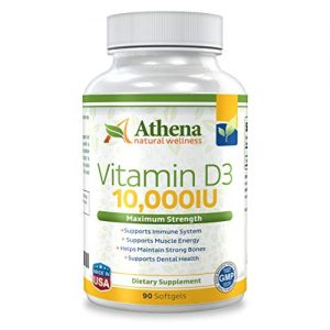 Athena – Vitamin D3 10,000IU High Strength – 90 Softgels Capsules – Supports Immune System, Muscle Energy, Strong Bones and Healthy Dental