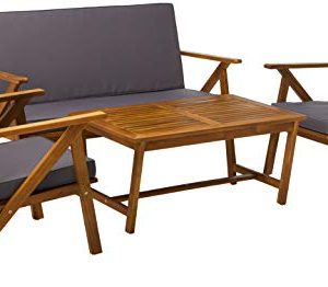 Christopher Knight Home 300251 Manarola 4-Piece Outdoor Acacia Wood Chat Set   in Teak Finish/Grey