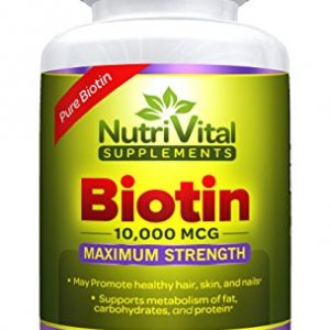 Biotin 10000 MCG by NutriVital Supplements, Vegetarian Capsule, Maximum Strength, Pure Vitamin Supplement for Hair, Skin, and Nails