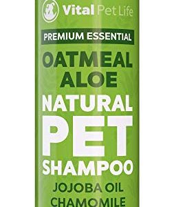 Shampoo for Dogs & Cats with Oatmeal, Aloe Vera, Chamomile, Jojoba Oil, Vitamin E – All Natural and Hypoallergenic, Helps Dry Coats & Itchy Sensitive Skin, No Parabens or Artificial Dyes, 16 oz