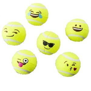SPOT Ethical Pets Emoji Tennis Ball Dog Toy (6 Pack)