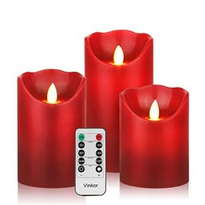 Vinkor Flameless Candles Flickering Candles Decorative Battery Flameless Candle Classic Real Wax Pillar with Dancing LED Flame & 10-Key Remote Control 2/4/6/8 Hours Timers (Burgundy)