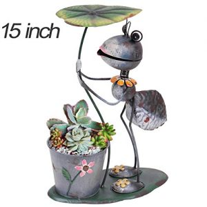 TERESA'S COLLECTIONS 15.3 inch Metal Ant Garden Statues with Planter, Flower Pots for Outdoor Yard Decorations