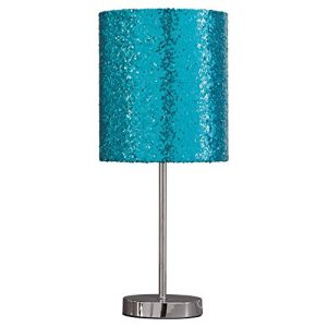 Ashley Furniture Signature Design – Maddy Metal Table Lamp with Drum Shade – Children's Lamp – Teal & Silver