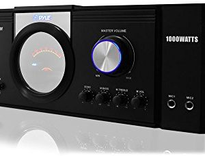 Pyle 1000 Watt Premium Home Audio Power Amplifier – Home Theater 4 Channel Stereo Receiver w/ Speaker Selector & Remote – for Amplified TV, Subwoofer Speakers, PA System – PT1100