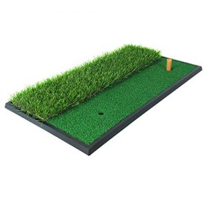 PGM Dual Turf Golf Hitting Mat/Golf Chipping Driving Cutting Mat with Rubber Tee/Rough & Fairway Golf Practice Mat for Backyard Home Use/Portable Golf Training Aids
