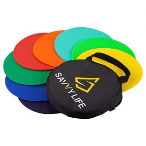 Savvy Life Poly Spot Markers – Set of 16 Multi-Colored Vinyl Spot Indicators for PE, School Activities, Exercise Drills, Sports Training – 10″ Large Non-Skid Floor Poly Spots with Carrying Bag