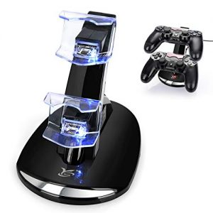 PS4 Controller Charger, Y Team Playstation 4 / PS4 / PS4 Pro / PS4 Slim Controller Charger Charging Docking Station Stand.Dual USB Fast Charging Station & LED Indicator for Sony PS4 Controller–Black