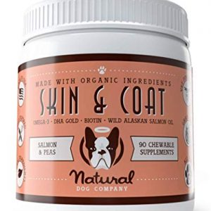 Natural Dog Company – Skin & Coat Omega Supplement | Supports Healthy Shiny Coats, Relieves Dry, Itchy Skin | Salmon & Pea Flavor – 90 Chews