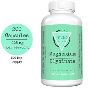 Magnesium Glycinate Supplement 200 Vegan Capsules -100 Day Supply, Chelated, High Absorption, Non-GMO -Essential Mineral Supports Heart, Mood, Sleep, Muscles, Migraines,Bones