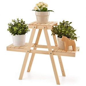 EZOWare Plant Rack, Wood Stepping Style Flower Succulents Leaves Pot 3 Shelves Stand for Indoor Outdoor Garden Greenhouse