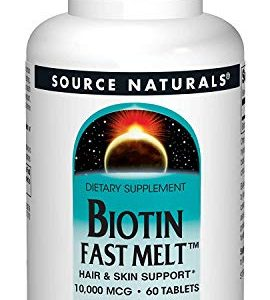 Biotin 10,000 mcg Hair Skin and Nail Support by Source Naturals. Non-GMO, Vegetarian, 60 Fast Melt Tablets