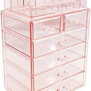 Sorbus Cosmetic Makeup and Jewelry Storage Case Display – Spacious Design – Great for Bathroo, Dresser, Vanity and Countertop (4 Large, 2 Small Drawers, Pink)